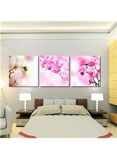Pink Butterfly Orchid Flower Pattern 3 Panels Framed Wall Art Prints