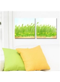 Fresh Country Style Green Grass Design Ready to Hang Framed Wall Art Prints