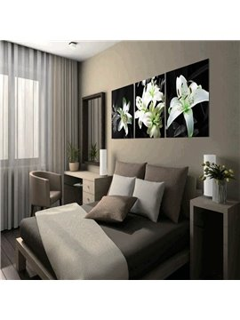 20×20in×3 Panels White Lily Hanging Canvas Waterproof and Eco-friendly Framed Prints