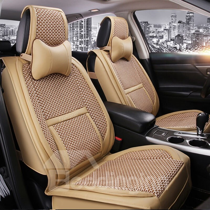 Popular Luxury Fresh Color Durable PVC Leatherette With Flax Universal Five Car Seat Cover