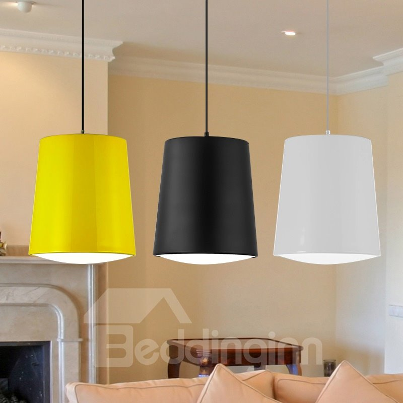 Simple Style Metals and Acylic Bucket Shape Design Pendant Lights