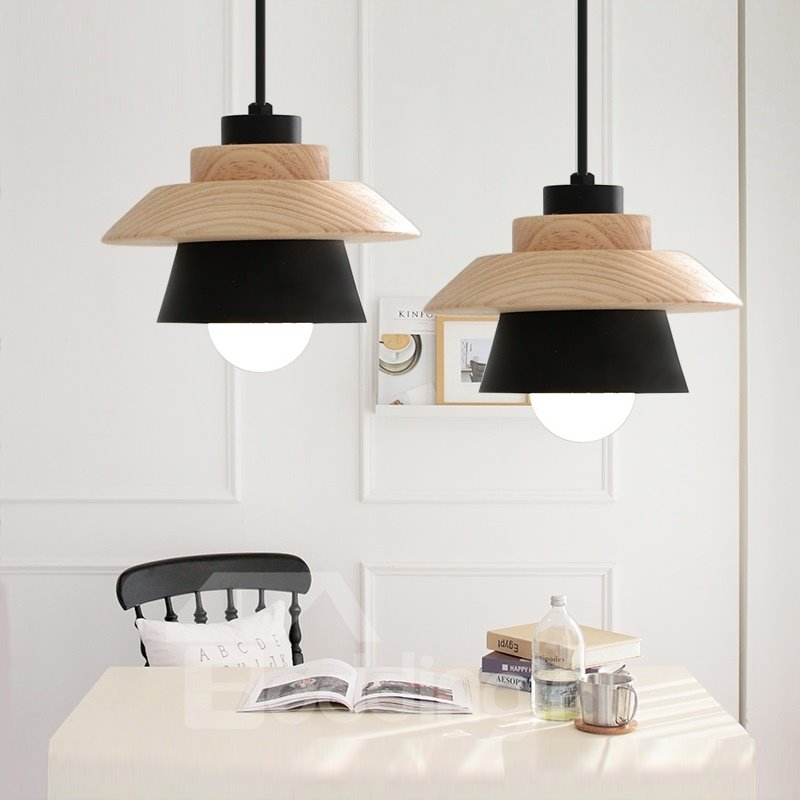 Black and White Wooden Modern Shape Design Pendant Light