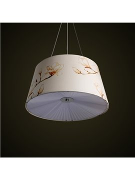 White Simple Style Fabric Flowers Pattern Decorative Pendant Light