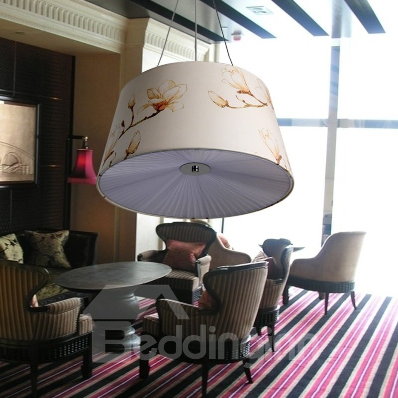 White Simple Style Fabric Flowers Pattern Decorative Pendant Light