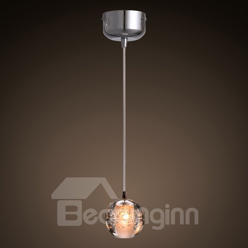Transparent Simple Style Crystal Ball Shape Design Decorative Pendant Light