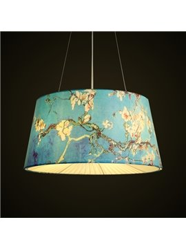 Blue Country Style Flowers Prints Decorative Pendant Light