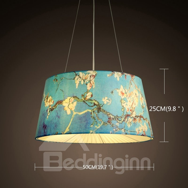 Blue Country Style Flowers Prints Decorative Pendant Light