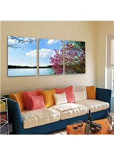 Blue Sky and River Scenery Pattern Fabric and Canvas Waterproof Framed Wall Prints