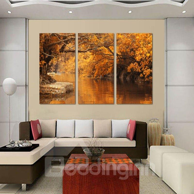 Delicate Autumn Riverside Scenery Pattern Framed Wall Art Prints