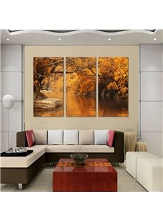 Delicate Autumn Riverside Scenery Pattern Framed Wall Art Prints