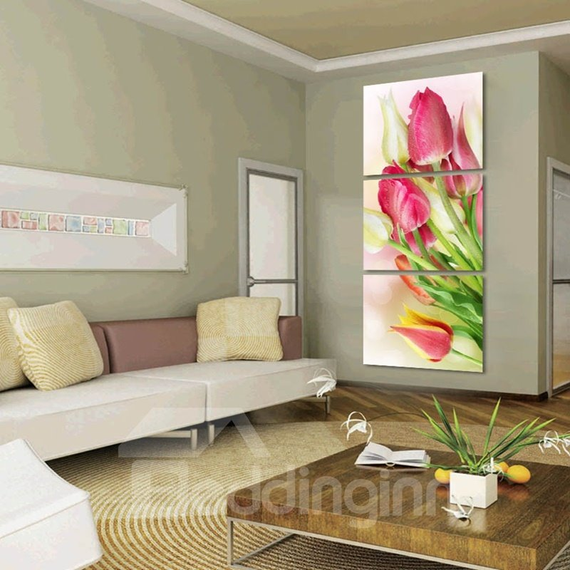 Pink Roses Pattern Hanging 3-Piece Canvas Waterproof and Eco-friendly Framed Prints