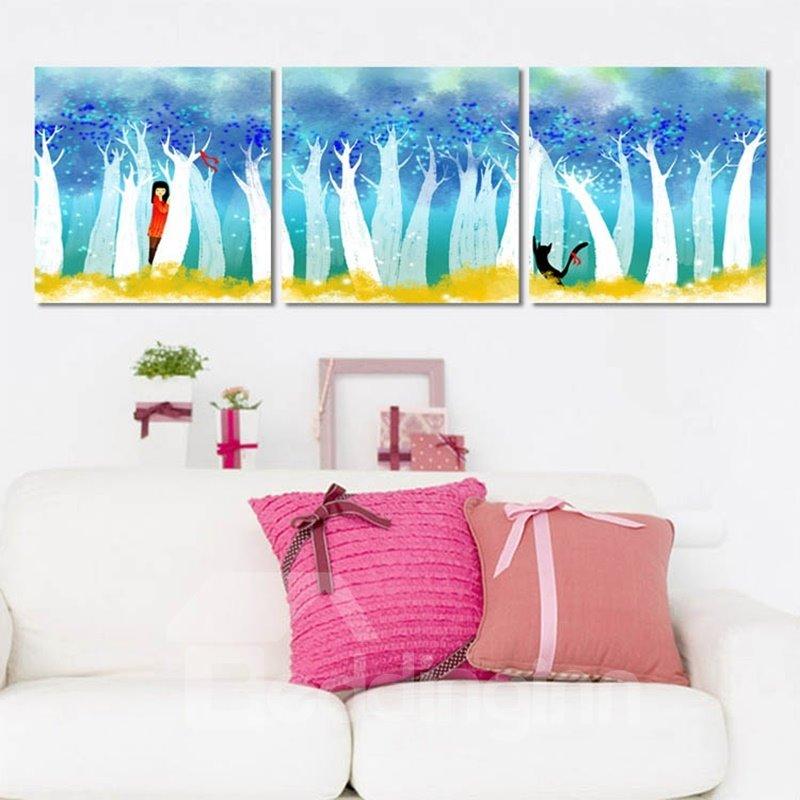 Lovely Cartoon Cute Girl Pattern Design Framed Canvas Wall Art Prints