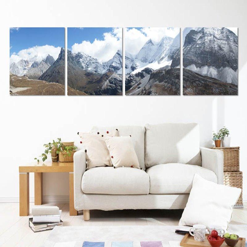 Snow Mountain 4-Piece Canvas Waterproof Framed Wall Art Prints