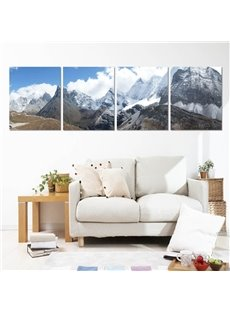 Snow Mountain 4-Piece Canvas Waterproof Framed Wall Art Prints