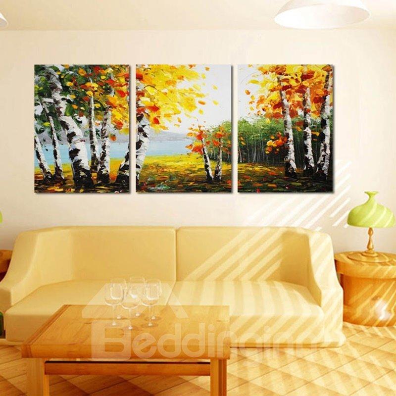 Autumn Riverside Scenery Pattern Design Framed Wall Art Prints