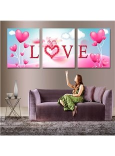 Pink Love Letters and Heart-Shaped Balloons Hung Framed Wall Prints