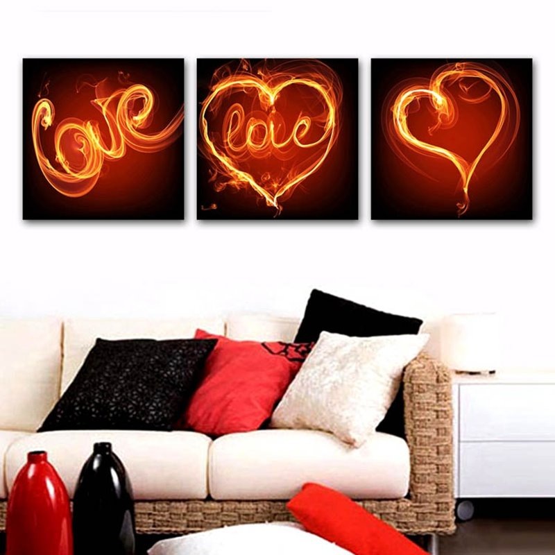 Romantic Heart-shaped Love Design Framed Canvas Wall Art Prints