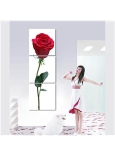 White Background Red Rose Pattern Hanging Waterproof Framed Wall Art Prints