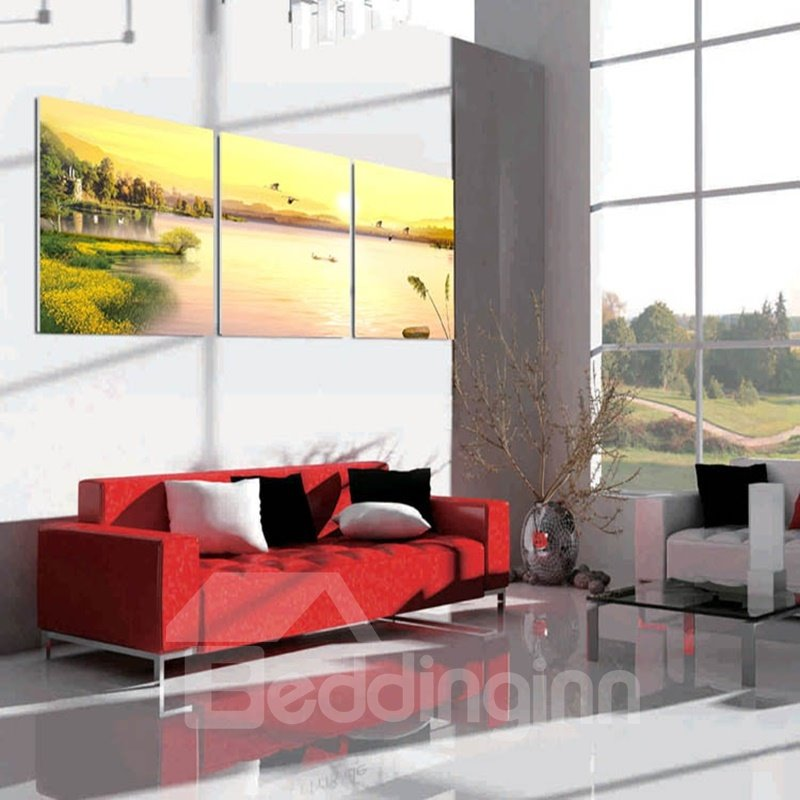 Yellow Sunset and Lake Scenery Fabric and Canvas Waterproof Framed Wall Prints