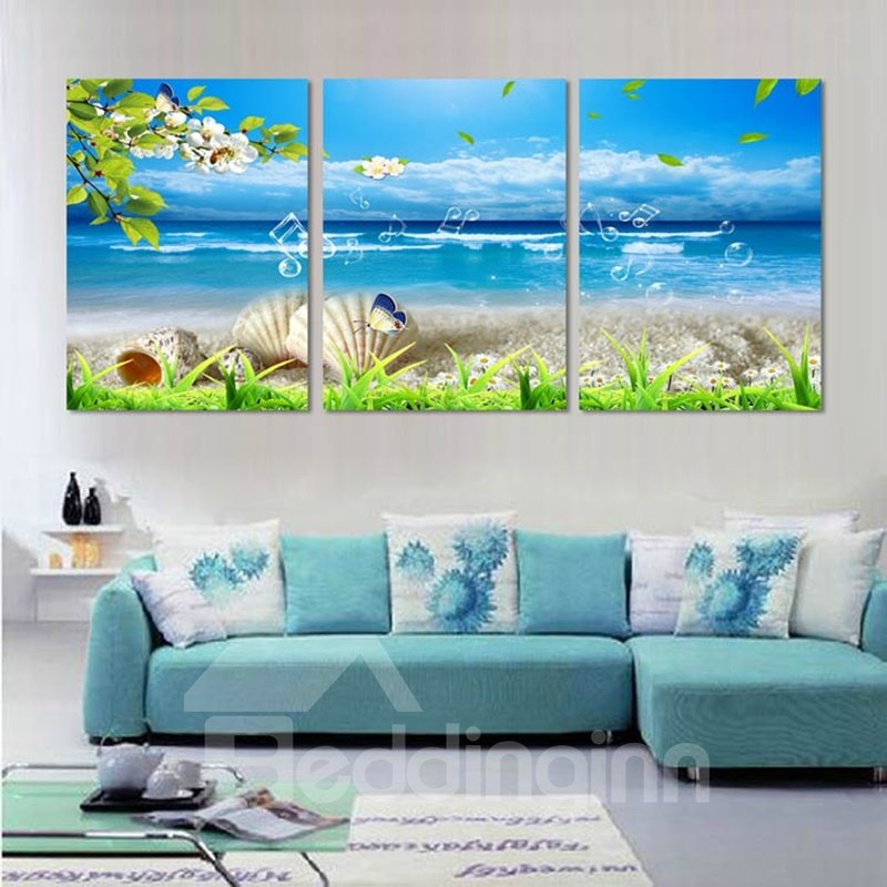 Sea Scenery 3-Piece Fabric Hung Framed Wall Prints