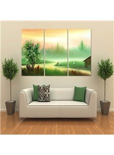 Green Trees and River 3-Panel Fabric Hanging Rectangles Framed Wall Prints