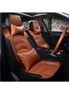 Classic Coffee Contrast- Color Attractive Sport Design Durable PVC Material Universal Five Car Seat Cover
