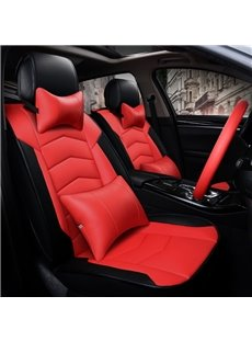 Attractive Textured Red Durable PVC Material Sport Style Leather Universal Car Seat Cover