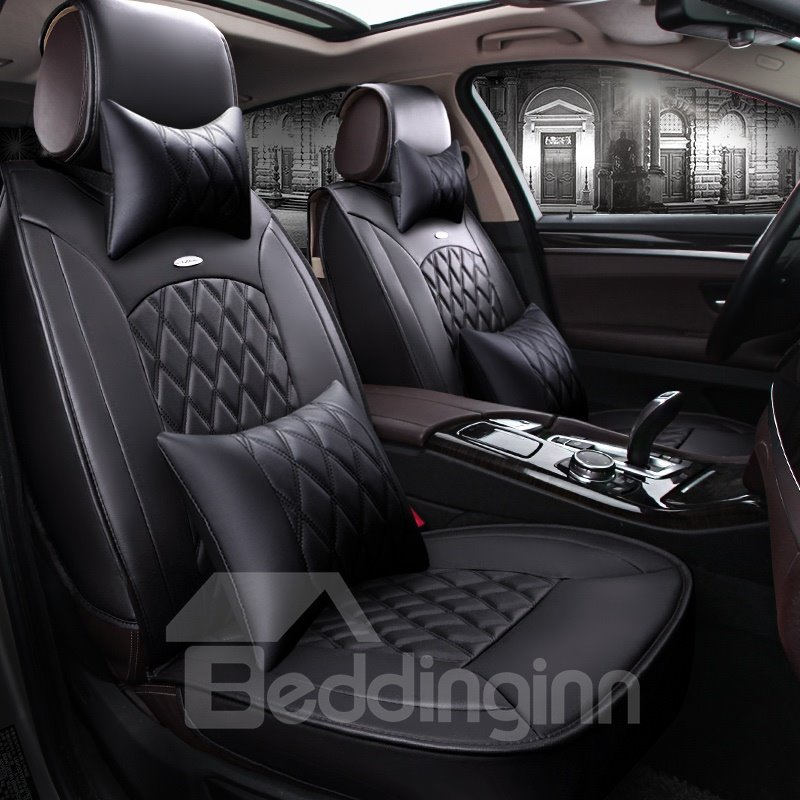 Classic Business Black Color Luxury Grid Style Design Durable PVC Material Universal Five Car Seat Cover