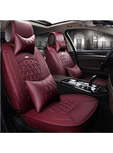 Charming Red Color Luxury Grid Style Design Durable PVC Material Universal Five Car Seat Cover