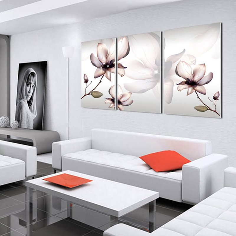 White Magnolia 3-Piece Fabric Hanging Waterproof Framed Wall Prints