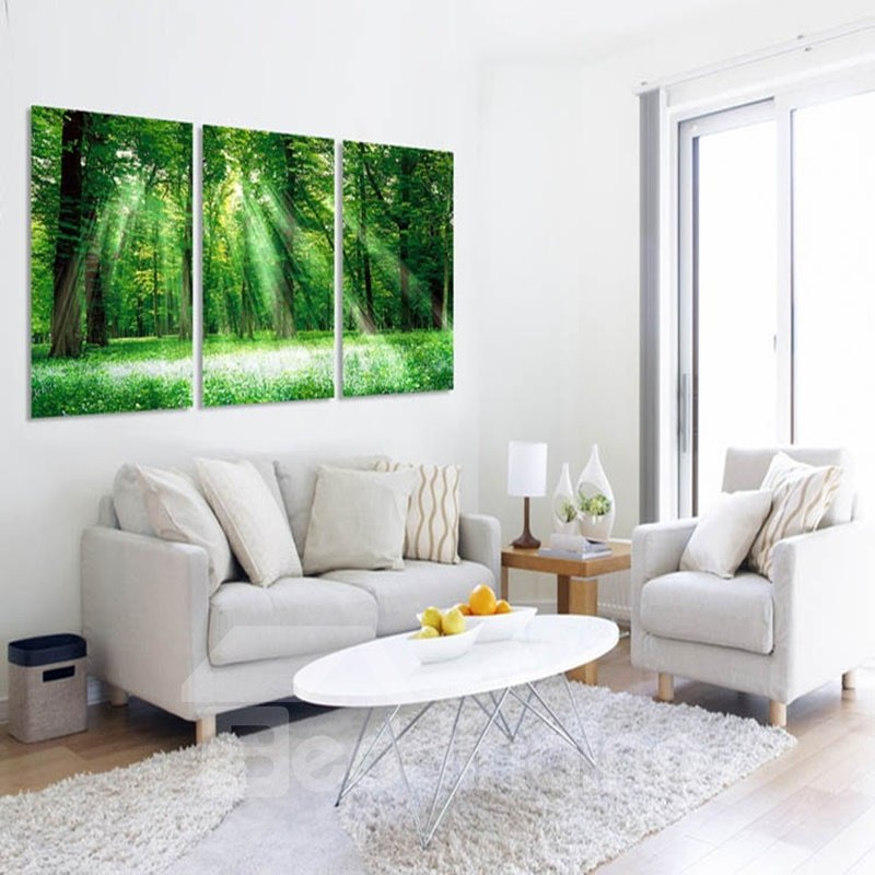 Green Forest Natural Scenery Pattern 3 Pieces Framed Wall Art Prints