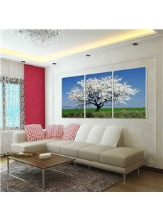 Tree with White Flowers 3-Piece Fabric Hanging Framed Wall Prints