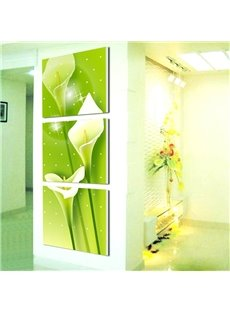 Green Elegant Callalily Flowers Pattern 3 Pieces Framed Wall Art Prints