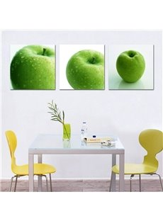 Simple Style Green Apples Pattern 3 Pieces Framed Wall Art Prints