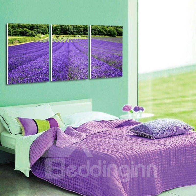 Purple Lavender Field Pattern Design 3 Pieces Framed Wall Art Prints
