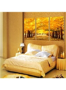 Autumn Forest Scenery Pattern Framed 3 Pieces Wall Art Prints
