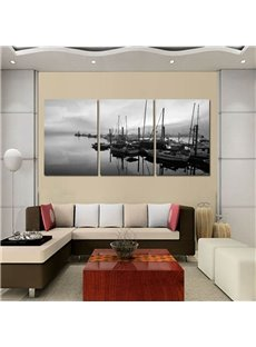 Black Boats Lies Alongside the Wharf Pattern Design 3 Pieces Framed Wall Art Prints