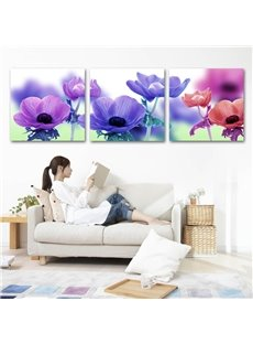 Colorful Flowers Pattern 3 Panels Framed Wall Art Prints