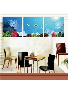 Blue Cute Fishes in the Sea Pattern Design Framed Wall Art Prints