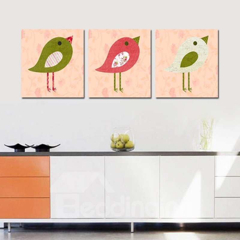 Simple Style Amusing Birds Pattern 3 Pieces Framed Wall Art Prints