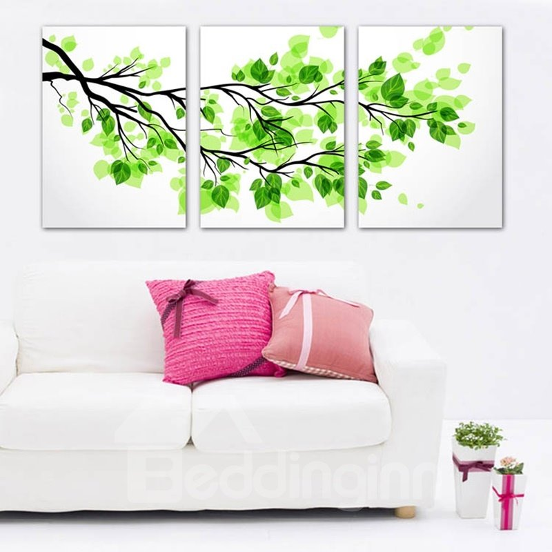 16×16in×3 Panels Green Leaves Hanging Canvas Waterproof and Eco-friendly Framed Prints