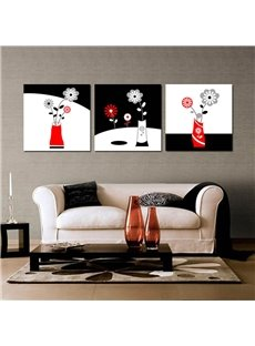 White and Black Simple Style Flowers Pattern Framed Wall Art Prints