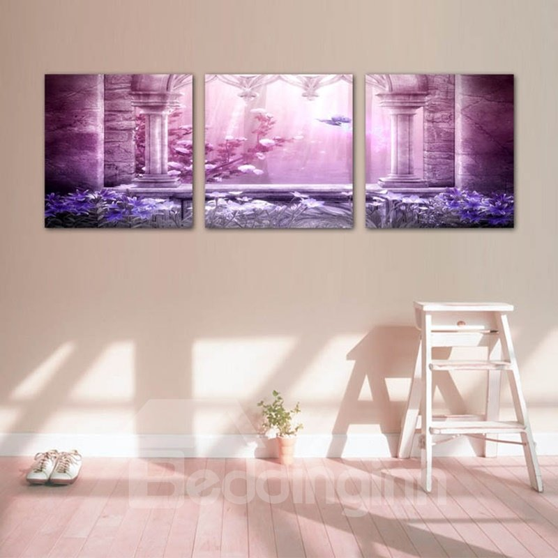 Purple Flower and Butterfly Pattern Design Framed Wall Art Prints