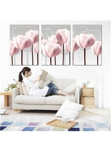 Decorative Pink Lily Pattern Ready to Hang Framed Wall Art Prints