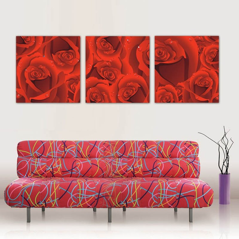 Red Romantic Roses Pattern Framed Canvas Wall Art Prints