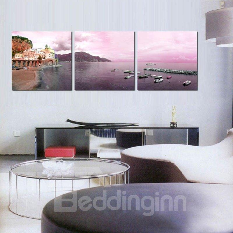 Modern Fashion Seaside Scenery Pattern Framed Wall Art Prints