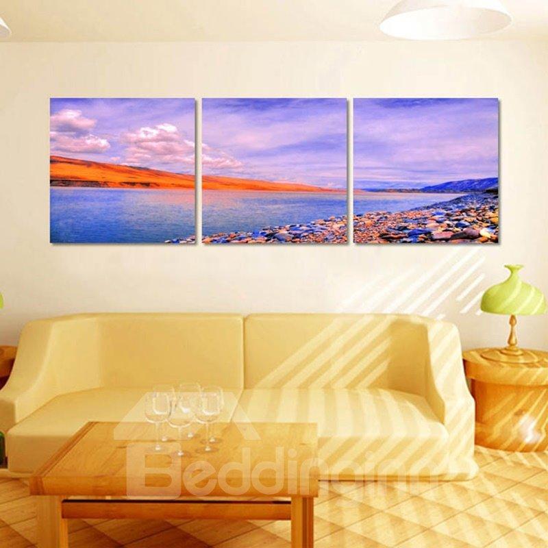 Purple Riverside Scenery Pattern 3 Pieces Framed Wall Art Prints