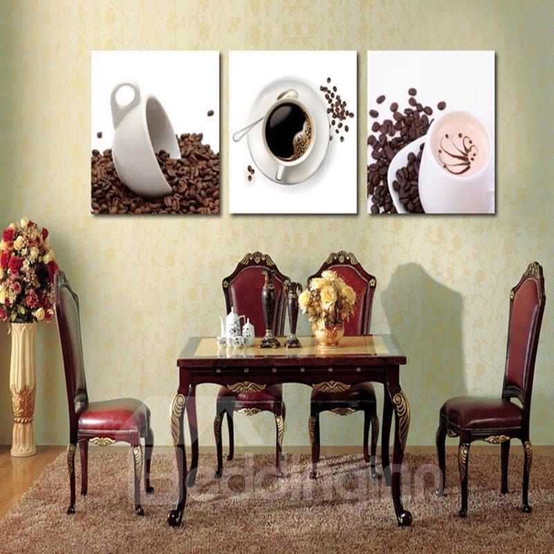 Simple Style White Coffee Mugs Pattern Design 3 Panels Framed Wall Art Prints