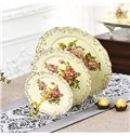 Elegant Modern Design Flowers Pattern 3 Layers Fruit Plate Painted Pottery