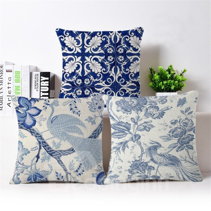Creative Blue-and-white Design Soft Square Throw Pillow
